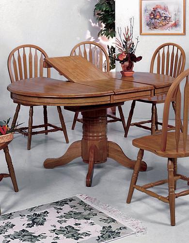 OVAL SOLID TOP BUTTERFLY LEAF TABLE-1052D/OAK