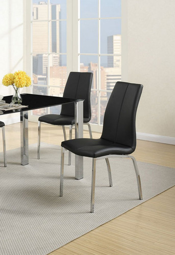 BLACK MODERN DINING CHAIR 2 PCS SET