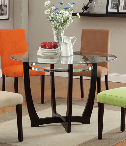 ESPRESSO WOODEN BASE ROUND DINING TABLE
