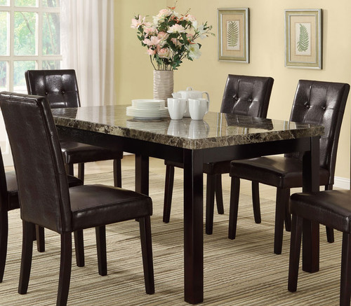 DARK BROWN MARBLE LOOK DINING TABLE