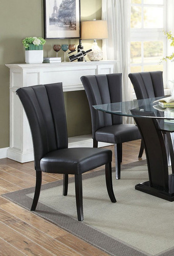 BLACK PU LEATHER DINING CHAIR 2 PCS SET