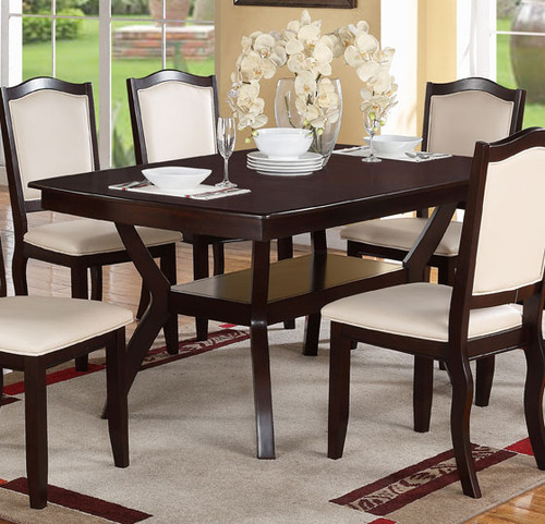 RECTANGULAR SHAPED BROWN WOOD DINING TABLE