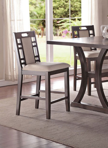 EARTHY GREY COUNTER HEIGHT CHAIR 2 PCS SET