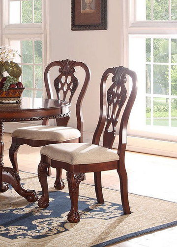 CHERRY WOOD FINISH SIDE CHAIR 2 PCS SET