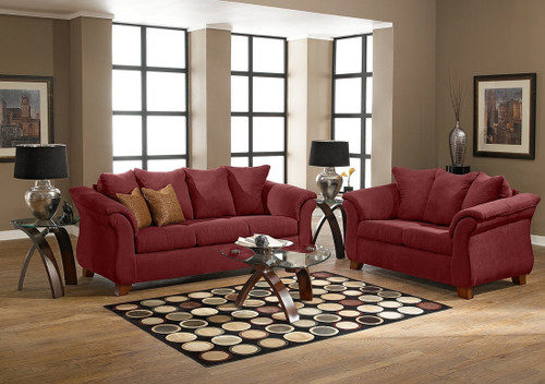 2PC LUCY SOFA AND LOVESEAT IN RED