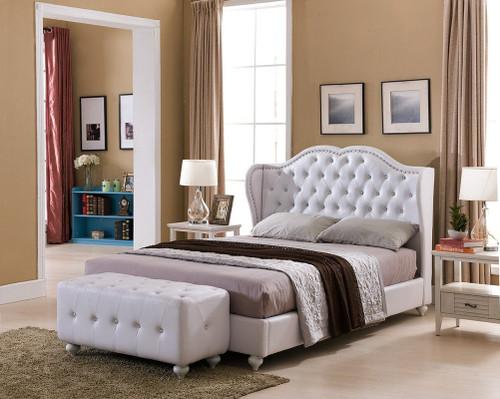 PARADISE WHITE FAUX LEATHER KING SIZE PLATFORM BED-Paradise
