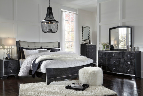 BLACK GLOSSY FINISH QUEEN SIZE BEDROOM SET-B257