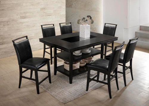 7 PCS BLACK CROCODILE PUB DINING SET