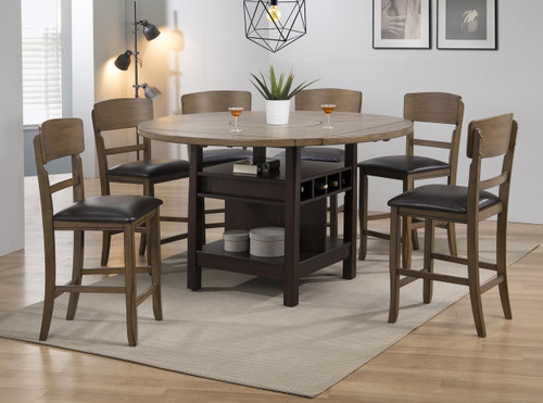 CONNER  WALNUT COUNTER HEIGHT TABLE 5PC SET