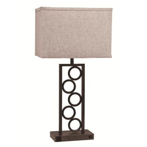 STACK CIRCLE LAMP WITH OUTLET ESPRESSO (SET OF 2)