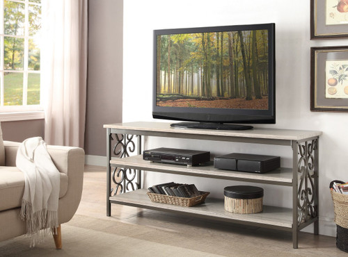 """FAIRHOPE 62"""" TV STAND / SOFA TABLE WITH FAUX MARBLE TOP"""