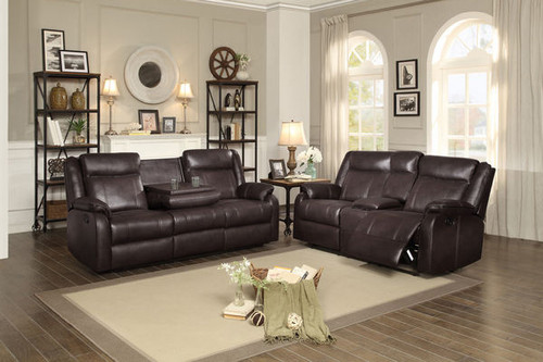 2PC JUDE SOFA AND LOVESEAT RECLINING SET IN BROWN