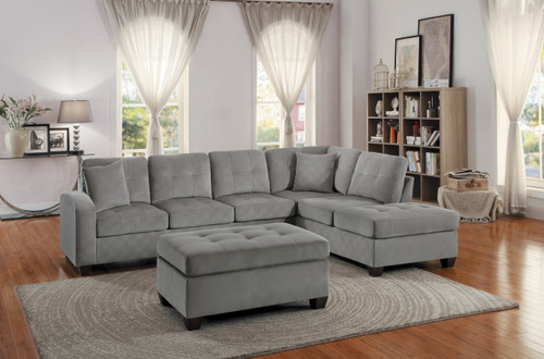 EMILIO REVERSIBLE SECTIONAL TAUPE FABRIC