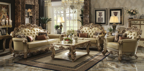 Vendome Collection Gold Patina Finish /Bone PU Sofa and Loveseat