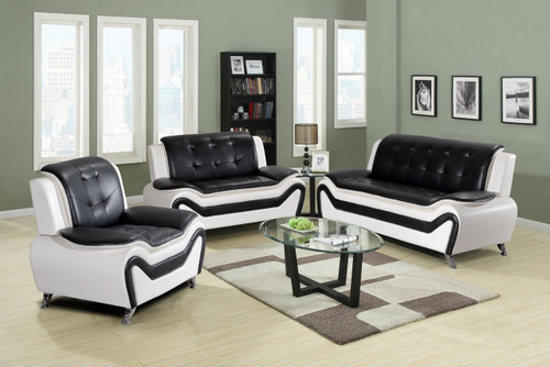 2PC KAZAN SOFA AND LOVESEAT IN BLACK AND WHITE