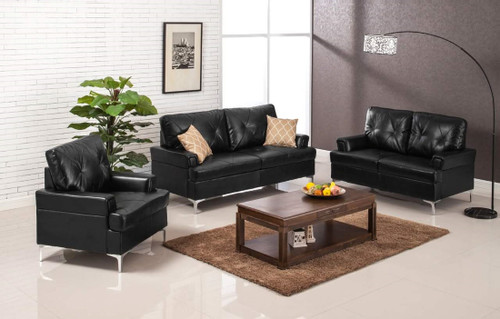 3PC SKYHOUSE SOFA, LOVESEAT, AND CHAIR IN BLACK
