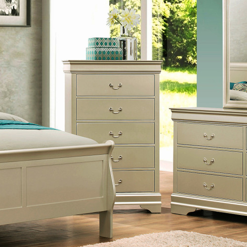 LOUIS PHILLIP 5-D CHEST IN CHAMPAGNE