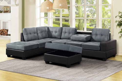 3 PCS HEIGHTS THICK FABRIC &  BONDED LEATHER SECTIONAL WITH DROP DOWN CUP HOLDER WITH OTTOMAN IN GRAY