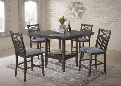 MEGHAN COUNTER HEIGHT TABLE GREY 5 PC SET