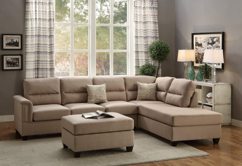 3PC KINSALE SECTIONAL SET WITH OTTOMAN IN SAND