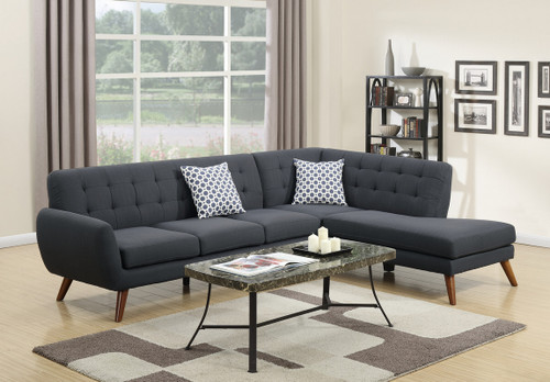 2PC STERLING SECTIONAL IN ASH BLACK