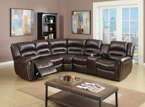 3PCS RECLINING SECTIONAL BROWN