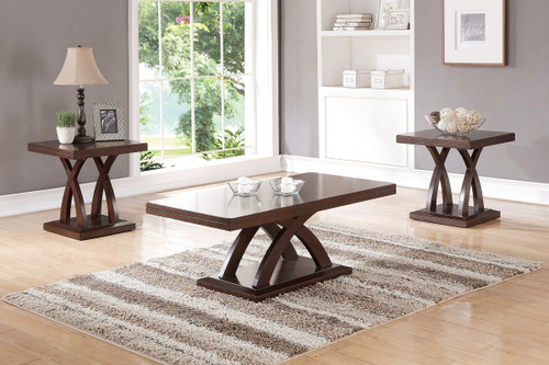 3PCS WOODEN TOP COFFEE TABLE SET