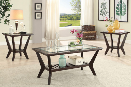 3PCS WOOD FINISH COFFEE TABLE SET