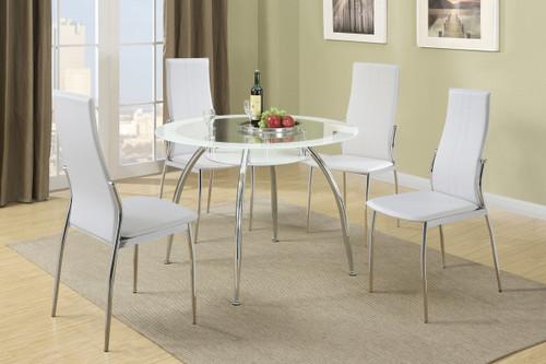 5PCS WHITE ROUND TABLE DINING SET