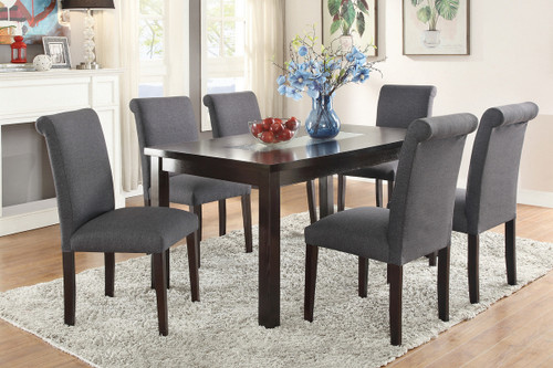 7PCS BLUE GREY DINING SET