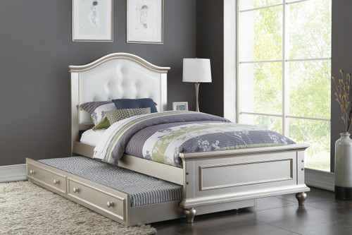 TWIN BED W/TRUNDLE WHT