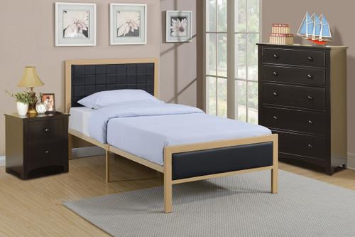 TWIN/FULL BED PU BLACK
