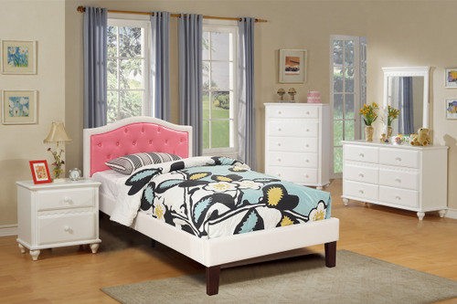 TWIN BED PU WHT