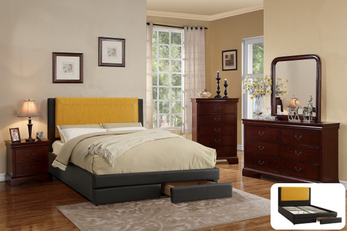 FULL BED CITRUS FAUX LEATHER