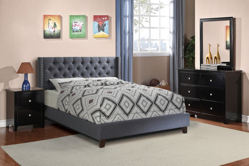 FULL BED NAILHEAD BLUE GRAY