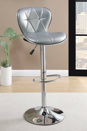 ADJUSTABLE FAUX LEATHER BAR STOOL SILVER 2 PCS SET