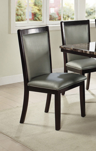 2PCS SILVER PU DINING CHAIR SET