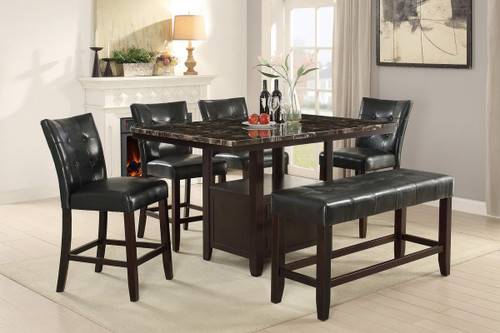 MARBLE TOP HIGH DINING TABLE