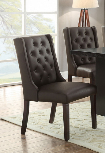 2PCS DINING CHAIR PU ESPRESSO SET