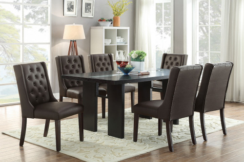 7PCS WOODEN TOP ESPRESSO DINING TABLE SET