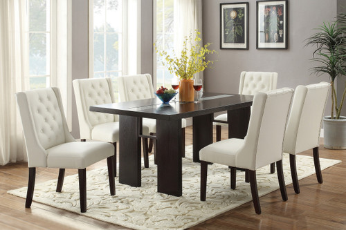 7PCS WOODEN TOP ESP DINING TABLE SET