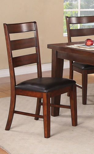 2PCS DARK CHOCO SEAT DINING CHAIR SET