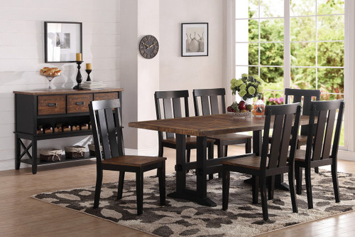 7PCS DARK BROWN DINING TABLE SET-F2323-F1571