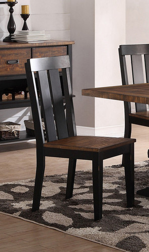 2PCS DARK BROWN DINING CHAIR SET