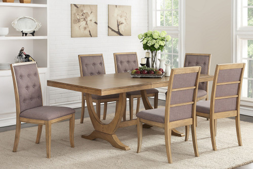 7PCS NATURAL WOOD DINING TABLE SET