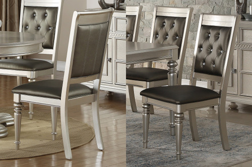2PCS SILVER FINISH DINING CHAIR SET