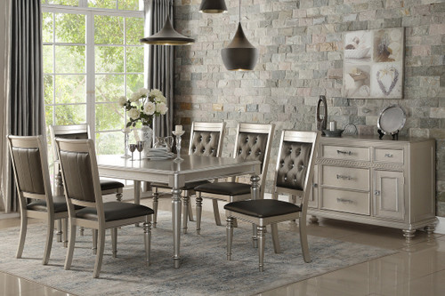 7PC RECTANGULAR DINING TABLE SET IN SILVER FINISH
