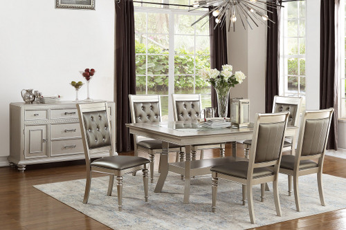 7PCS SILVER RECTANGULAR DINING TABLE SET-F2430-F1705