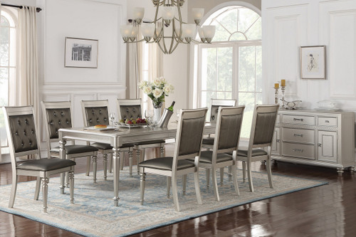 7PC SILVER RECTANGULAR DINING TABLE SET