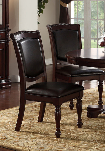 2PCS CHERRY FINISH DINING CHAIR SET